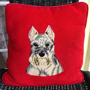 "VTG Red Schnauzer Needlepoint Pillow 14.5"" X 14"""